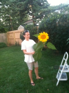 """""""Harvesting"""" sunflowers about 6 weeks after my laparascopy in 2012"""