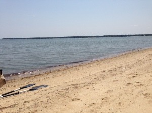 Pausing on a beach while kayaking on The Peconic Bay