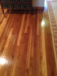Yay, newly redone wood floors!!