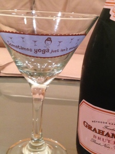 """Yes, the glass DOES say """"sometimes yoga just isn't enough"""".  You read correctly."""